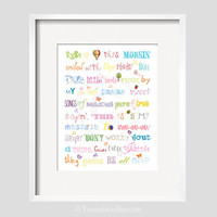 Three Little Birds Bob Marley Print Song Quote in Rainbow Colors 11x14 by YassisPlace