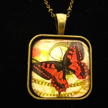 "Necklace - Red Butterfly Glass Pendant, Antique Bronze 18"" Chain, Jewelry"