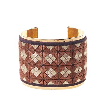 Gold Cuff with Bronze Square Embroidery: One of a Kind