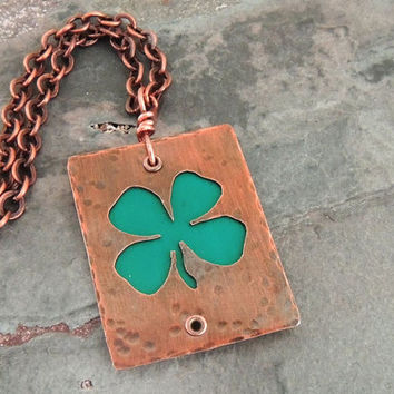 Shamrock Necklace, St. Patrick's Day Jewelry, Green Clover, Four Leaf Clover, Luck of the Irish, Copper Necklace, Irish Symbol