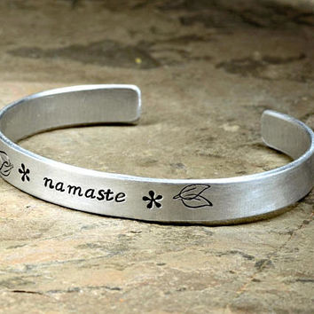 Silver Namaste Yoga Cuff Bracelet for Awakening the Divine Spark between Souls in aluminum  - BR412