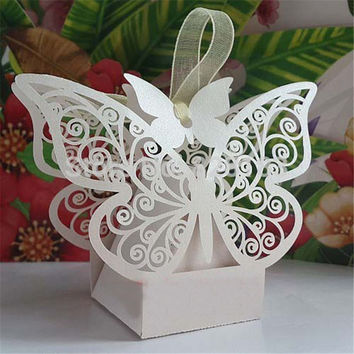 New 50pcs White Butterfly Design Wedding Favor Candy Gift Box With Laser Cut