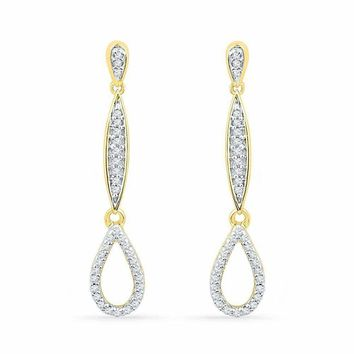10kt Yellow Gold Women's Round Diamond Slender Teardrop Dangle Earrings 1-5 Cttw - FREE Shipping (USA/CAN)