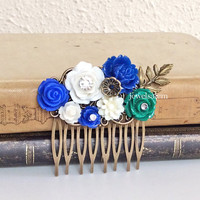 Wedding Hair Comb Bridal Hair Accessories Navy Blue Emerald Green Woodland Flowers Brass Leaf Floral Headpiece Bridesmaid Medium Comb WR