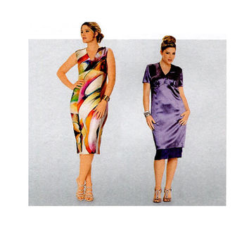 COCKTAIL DRESS PATTERN V-Neck Fitted Sheath Dress Dresses Burda 7243 Bust 39.5 to 52.75 UNCuT Womens Plus Size Sewing Patterns Size 18 - 30