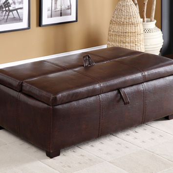 CM4703BRO Appoline Collection Ottoman With Hidden Twin Bed
