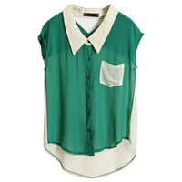 Hollowed Back Green Chiffon Shirt
