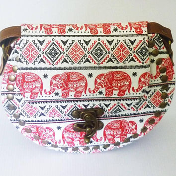 Cute handbags red elephant animal Round shoulder bag Tribal bag fake leather bag /round handbags wide 20 cm. Cross body bag