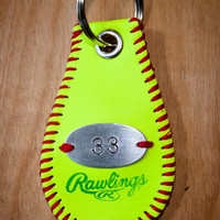 Softball Key Chain