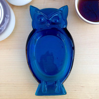 Vintage Blue Glass Owl Candy Dish / Mid Century Glass Owl Ashtray / Owl Collector