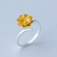 Fresh lotus 925 Sterling Silver adjustable ring, a perfect gift