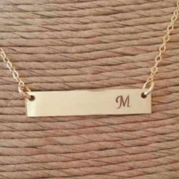 Stamped Gold Bar Necklace-Personalized Gold Bar Necklace-Kim Kardashian Style-Valentines Gift-Personalized Necklace-Gift For Her-Mothers Day
