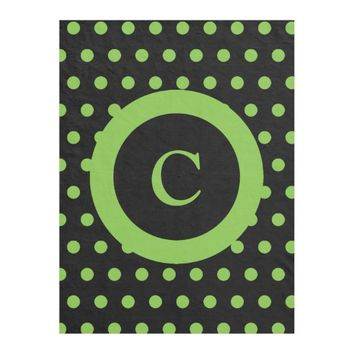 Personalized black and lime green polka dots fleece blanket