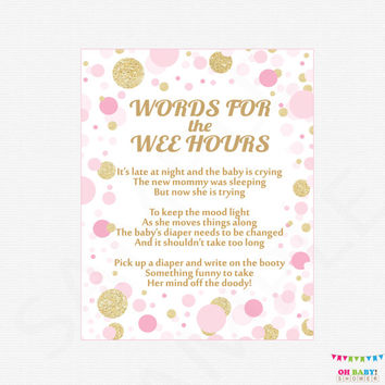 Words for the Wee Hours, Late Night Diapers, Diaper Game Sign, Pink and Gold Baby Shower Games, Printable Baby Shower, Download, CB0003-pg