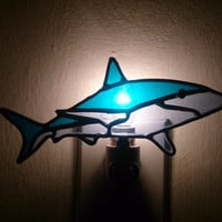 Stained Glass Shark Night Light