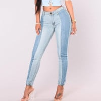 High Waist  Two Tone Jeans