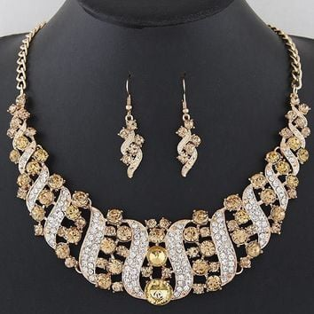 Necklace Earrings Set Ornaments Crystal Pendant Statement Chain Chunky Necklace
