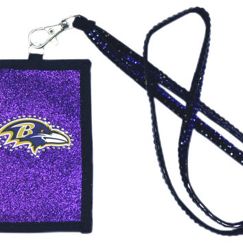 Baltimore Ravens Beaded Lanyard Wallet