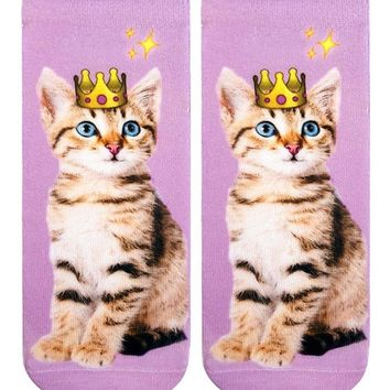Emoji Crown Kitten Ankle Socks