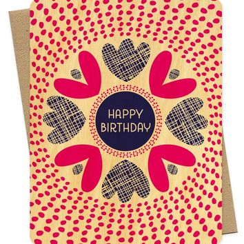 Night Owl Paper Goods - Radiant Floral Wood Birthday Card