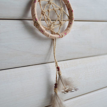 Boho Mini Dreamcatcher, Native American Home Decor, Wall Hanging, Gypsy, Gift, Wall Decor, Room Decor, Real Feathers, Car Accessories