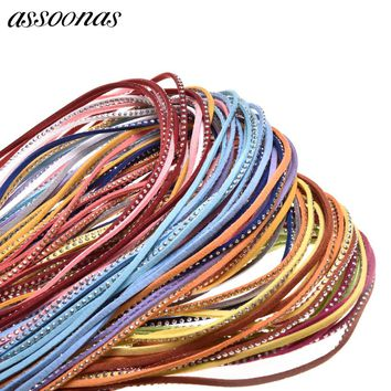 assoonas P12/jewelry findings/jewelry accessories/accessory parts/Faux Suede 3MM/500CM/bag/leather bracelet material