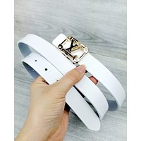 LV 2019 new street fashion simple wild fashion smooth buckle belt white