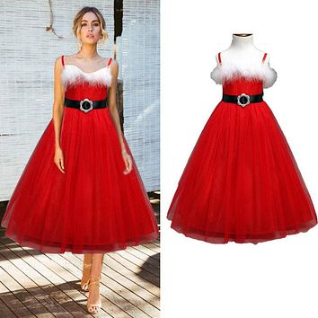 New Year Princess Dress Lovely Girls Long Red Christmas Dresses Tulle Lace Clothes Sleeveless Cotton Xmas Tutu Vestidos