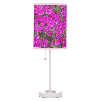 Pink Rhododendron Blossoms Floral Photo Table Lamp