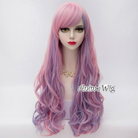 80cm Cosplay Pink Light Blue Light Purple Mixed Wig Hair Lolita Heat Resistant