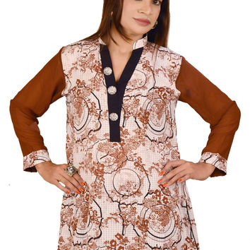 Women's Top Brown and White Button Down Blouse Kurti Tunic