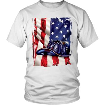 American Flag Blue Helmet - Firefighters T-Shirts, Hoodies, And Tank Tops
