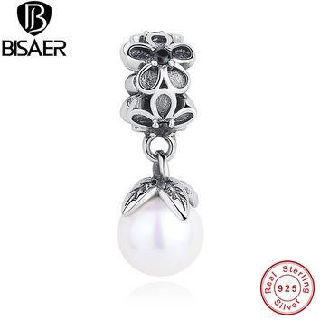 Authentic 925 Sterling Silver Daisy Flower With Pearl Pendant Fit Pandora Original Nec