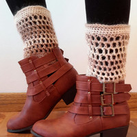 Crochet ankle boot cuffs. boot toppers. ladies size. Made by Bead Gs on ETSY. cream