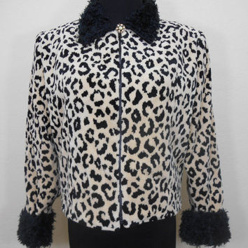 80s, Painted Pony, Cheetah Print, Fully Lined, Long Sleeve Jacket with Cuffed Long Sleeves, Light Shoulder Pads, Zippered Front - Small
