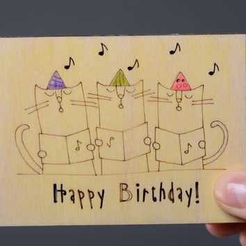 Unusual handmade greeting plywood birthday card vintage wooden postcards