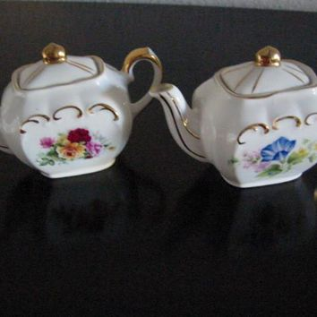 Sadler Mini Teapots England Floral Transfer Gilt Decorated