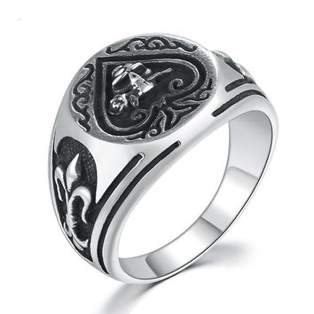 Solid 925 Sterling Silver Ring- Engraved with Skull and Spades
