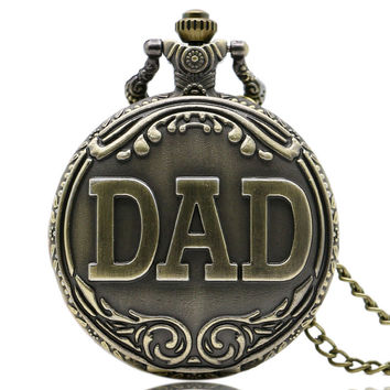 Antique Bronze Dad Quartz Pocket Watch with Necklace - Father's Day Gift