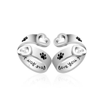 """""""I Will Love You Forever"""" Paw Print Adjustable Ring"""