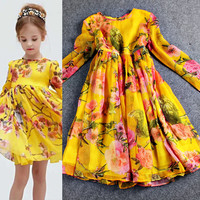 Floral Printed Long Sleeve Empire Waist  Flounce Children Dress