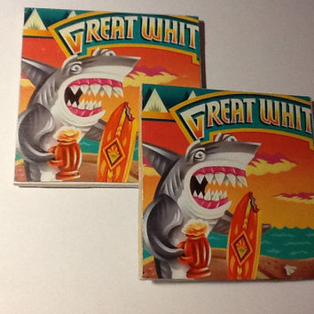 Beer Coaster: Great White (pack of 4)