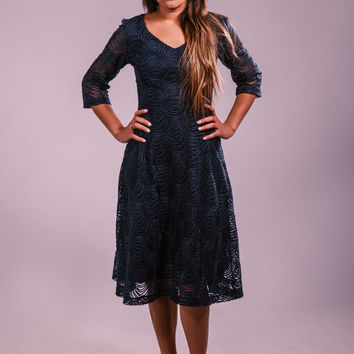 Lace dress, evening dress, navy blue dress, long sleeves dress, classic dress, elegant dress, cocktail dress