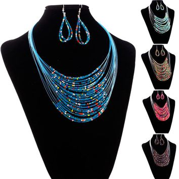 2017 Hot Fashion Trendy Style Jewelry Multicolor Multi-layer Resin Beads Necklaces and Earrings Set Elegant Chic StyleHot Sale