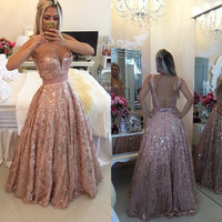 2016 Long Lace Evening Dresses Elegant Pearls Gown vestidos de fiesta Plus Size A Line Long Floor Length Sheer Neck