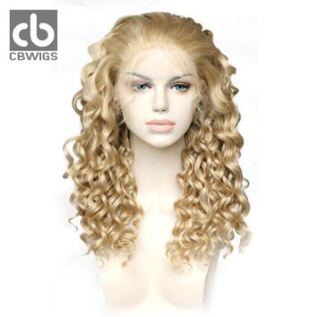 CBCBWIGS Kanekalon Hair 18inch 150% Density 613/16/27HR Blonde Color Natural Hairline White Women Curly Synthetic Lace Front Wig