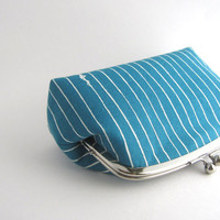 Large Frame Women's Purse Cosmetic Pouch- blue stripe