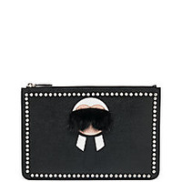 Fendi - Karl Fur-Trimmed Textured Leather Pouch - Saks Fifth Avenue Mobile