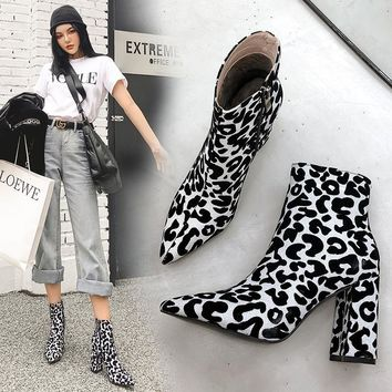 Women Leopard Print Pointed Toe Fashion Ankle Boots