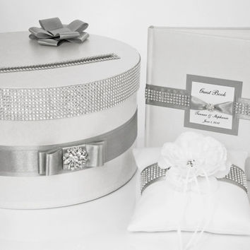 Wedding set - card box, ring pillow, guest book - silver